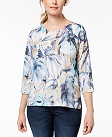 Alfred Dunner Petite Printed Lace-Neck Top