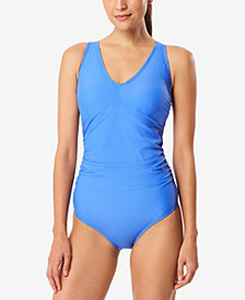 Speedo V-Neck One-Piece Swimsuit