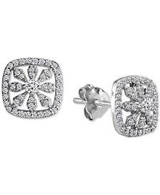 Giani Bernini Cubic Zirconia Pavé Flower Stud Earrings in Sterling Silver, Created for Macy's