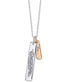 "Unwritten Two-Tone Leaf ""Free"" Vertical Tag 18"" Pendant Necklace in Sterling Silver & Rose Gold-Flash"