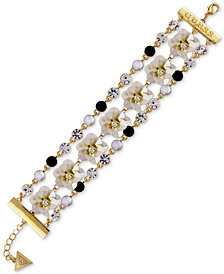 GUESS Gold-Tone Crystal & Stone Flower Triple-Row Flex Bracelet