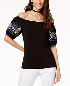 I.N.C. Cotton Off-The-Shoulder Embroidered Top, Created for Macy's