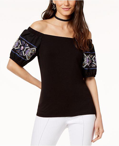 853d83a2fd4ec0 INC International Concepts. I.N.C. Cotton Off-The-Shoulder Embroidered Top