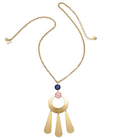 "kate spade new york Gold-Tone Multi-Stone Sculptural 32"" Pendant Necklace"