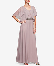 Alex Evenings Petal-Sleeve A-Line Gown