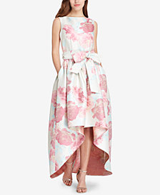 Tahari ASL Floral-Print Jacquard High-Low Gown