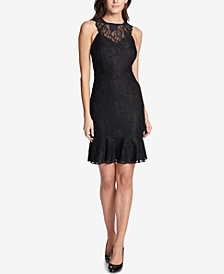 kensie Lace Ruffle-Hem Dress