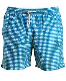 "Barbour Men's Tailored-Fit Gingham 5-1/2"" Swim Trunks"