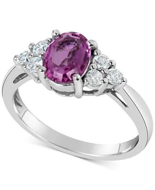 Macy's Pink Sapphire (1-1/2 ct. t.w.) & Diamond (1/3 ct. t.w.) Ring in 14k White Gold