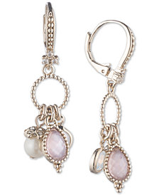 Marchesa Gold-Tone Imitation Pearl, Stone & Pavé Shaky Drop Earrings