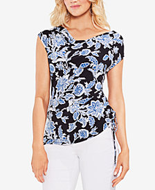 Vince Camuto Printed Side-Drawstring Top
