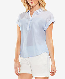 Vince Camuto Cotton Striped-Contrast Top