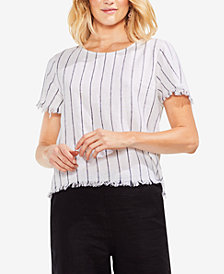 Vince Camuto Frayed Striped Top