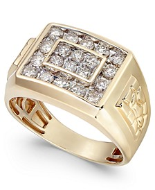 Men's Diamond Cluster Nugget Detail Ring (1 ct. t.w.) in 10k Gold or 10K White Gold
