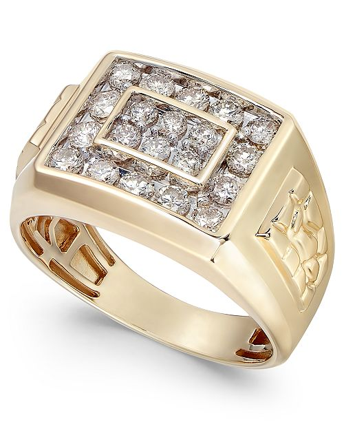 Macy's Men's Diamond Cluster Nugget Detail Ring (1 ct. t.w.) in 10k Gold or 10K White Gold