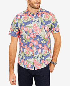 Nautica Men's Floral-Print Classic Fit Shirt
