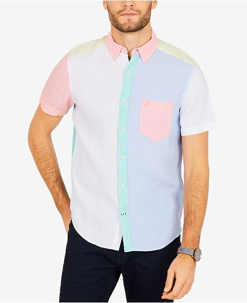 d1178fb6a Nautica Men's Pastel Colorblocked Linen Classic Fit Shirt; Nautica Men's  Pastel Colorblocked Linen Classic Fit ...