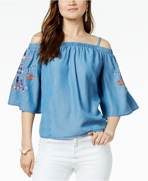 6d50dd75dbfe36 INC International Concepts I.N.C. Off-The-Shoulder Embroidered Top ...