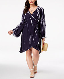 Raviya Plus Size Printed Wrap Dress Cover-Up