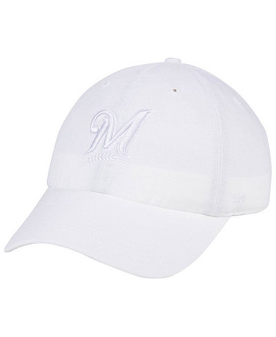 '47 Brand Milwaukee Brewers White/White CLEAN UP Cap