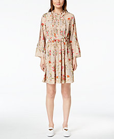 Marella Kenya Pintucked Floral-Print Dress