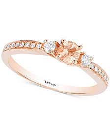 Peach Morganite™ (1/5 ct. t.w.) & Diamond (1/6 ct. t.w.) Ring in 14k Rose Gold