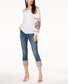 I.N.C. Off-The-Shoulder Embroidered Top & Embroidered Cuffed Jeans, Created for Macy's