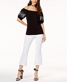 I.N.C. Cotton Off-The-Shoulder Top & Cropped Flare-Leg Jeans, Created for Macy's