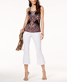 I.N.C. Embroidered Tank Top & Cropped Flare-Leg Jeans, Created for Macy's