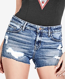 GUESS Ripped Cotton Skinny Denim Shorts