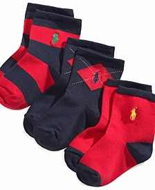 Ralph Lauren Baby Boys Argyle Crew Socks 3-Pack
