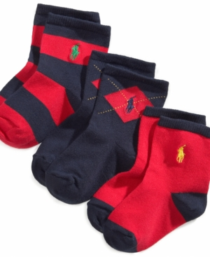 Ralph Lauren Baby Boys Argyle Crew Socks 3Pack