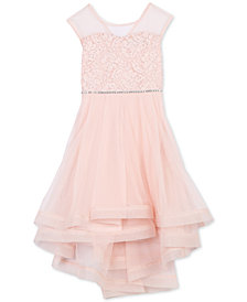 Speechless Little Girls Glitter Lace Illusion-Neck Dress