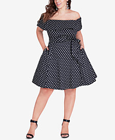 City Chic Trendy Plus Size Sweet Off-The-Shoulder Dress