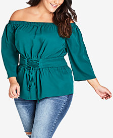 City Chic Trendy Plus Size Belted Peasant Top