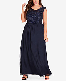 City Chic Trendy Plus Size Sequined Lace Gown