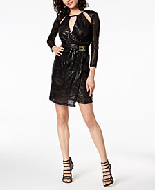 Just Cavalli Croc-Embossed Wrap Dress