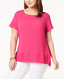 NY Collection Plus Size Mixed-Media Top