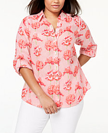 Charter Club Plus Size Linen Floral-Print Shirt, Created for Macy's