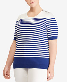 Lauren Ralph Lauren Plus Size Striped Cotton Sweater