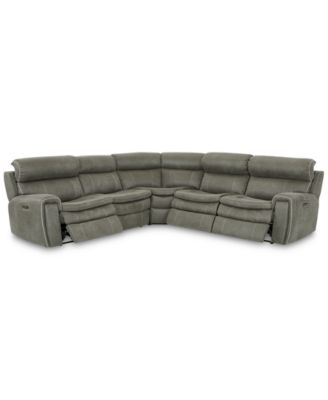 CLOSEOUT! Leilany 5-Pc. Fabric Sectional Sofa with 3 Power Recliners, Power Headrests and USB Power Outlet