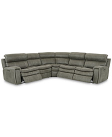 Leilany 5-Pc. Fabric Sectional Sofa with 3 Power Recliners, Power Headrests and USB Power Outlet