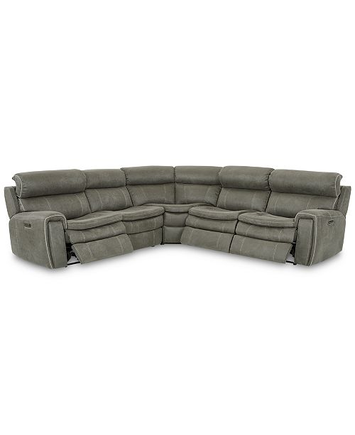 furniture closeout leilany 5 pc fabric sectional sofa with 3 power