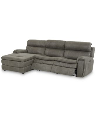 """CLOSEOUT! Leilany 111"""" 3-Pc. Fabric Chaise Sectional Sofa with 2 Power Recliners, Power Headrests and USB Power Outlet"""