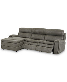 "CLOSEOUT! Leilany 111"" 3-Pc. Fabric Chaise Sectional Sofa with 2 Power Recliners, Power Headrests and USB Power Outlet"