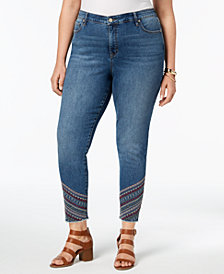 Style & Co Plus Size Embroidered-Hem Curvy-Fit Skinny Jeans, Created for Macy's