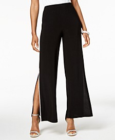 Petite Sequined Wide-Leg Pants
