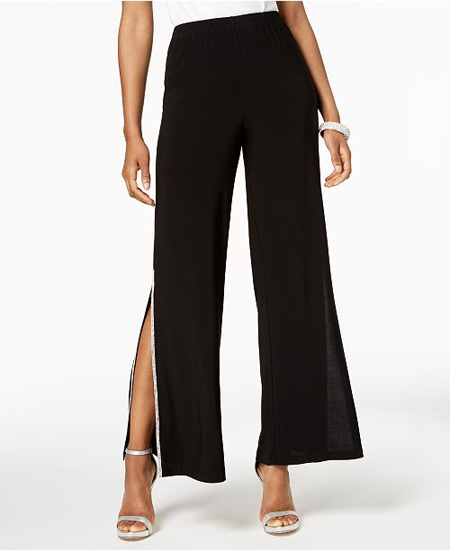 MSK Petite Sequined Wide-Leg Pants