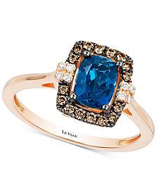 Le Vian Chocolatier® Deep Sea Blue Topaz™ (9/10 ct. t.w.) & Diamond (1/6 ct. t.w.) Ring in 14k Rose Gold