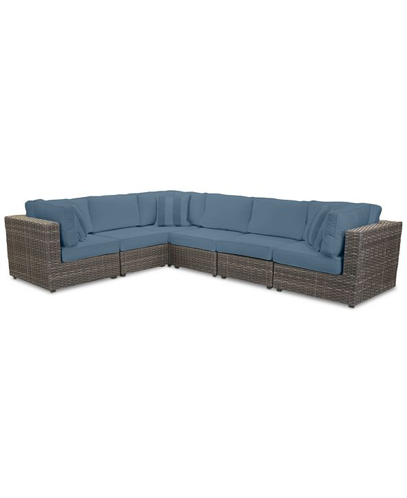 Furniture Viewport Outdoor 6-Pc. Modular Seating Set (3 Corner Units and 3 Armless Units) with Custom Sunbrella® Cushions, Created for Macy's